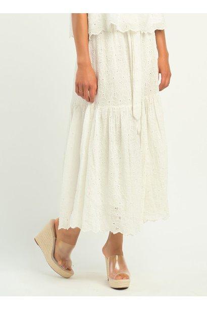 Dex Eyelet Tiered Skirt WHT