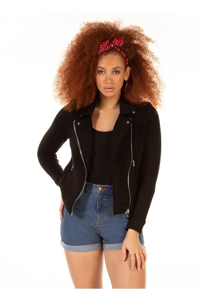 Stretch Knit Moto Jacket BLK