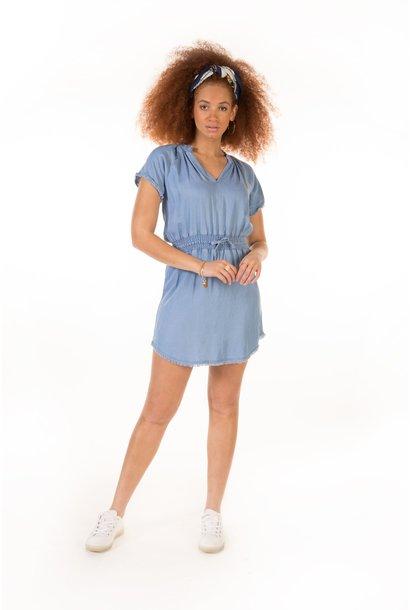 Elastic Waist Frey Hem Dress DNM