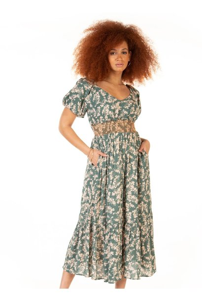 Romantic Floral Maxi Dress TEAL