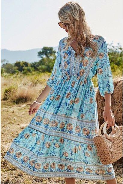 Floral Button Front Maxi Dress  BLU