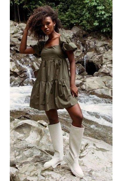 Issy Babydoll Smock Dress KHK