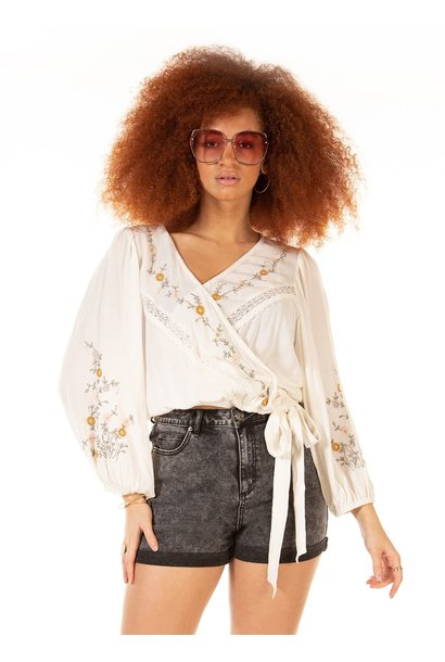 Embroidered Wrap Blouse CRM