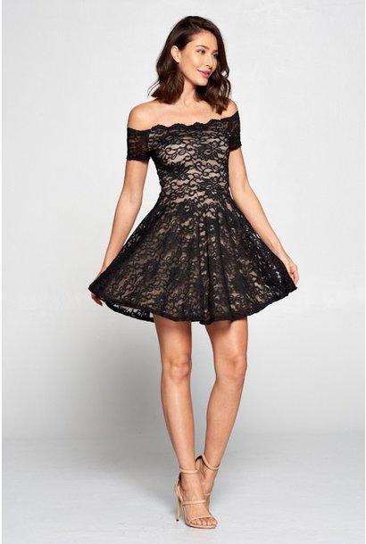 Kate Off Shoulder Lace Dress BLK