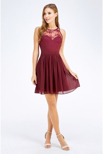 Jessica Lace Detail Chiffon Dress BURG