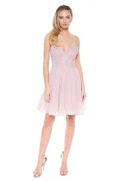 Mandy Lace Bodice Dress MAU
