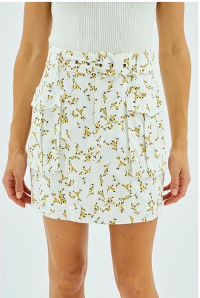 Teagan Daisy Utility Skirt WHT