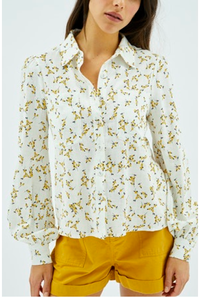 Teagan Daisy Puff Sleeve Blouse WHT