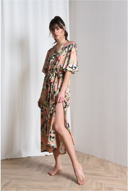 Floral Print Wide Sleeve Maxi GRN