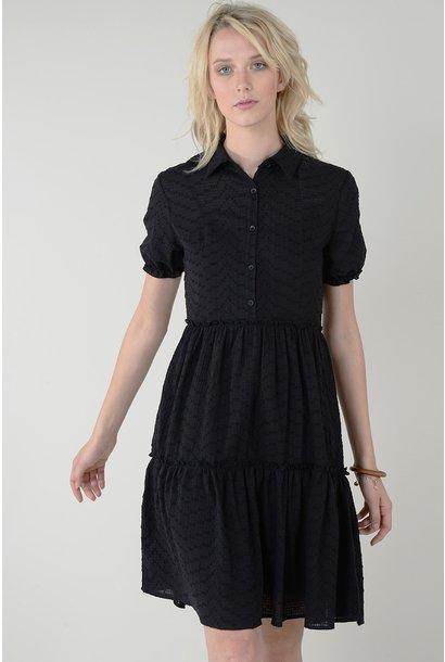 Eyelet Shirt Collar Dress BLK