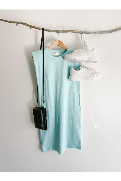 Shoulder Pad Tee Dress AQUA