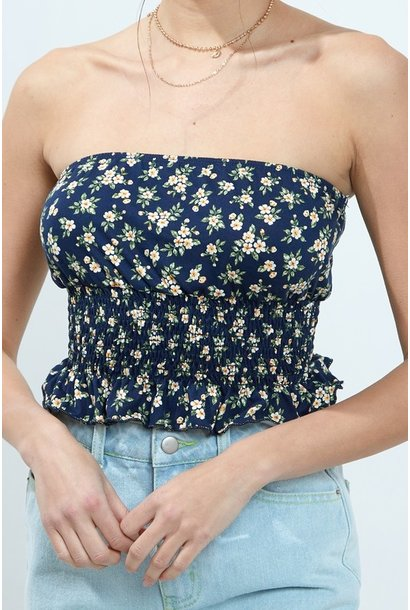 Floral Smocked Tube Top NVY