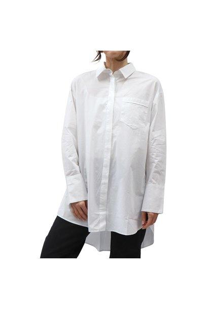 Woven Button Front Blouse WHT