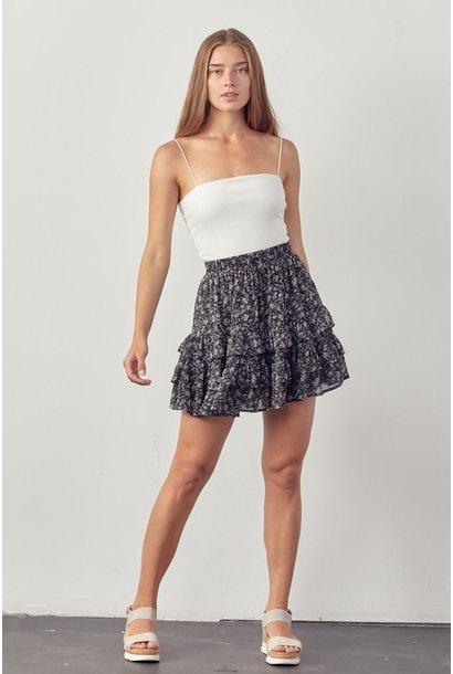 Ditsy Floral Skirt BLK