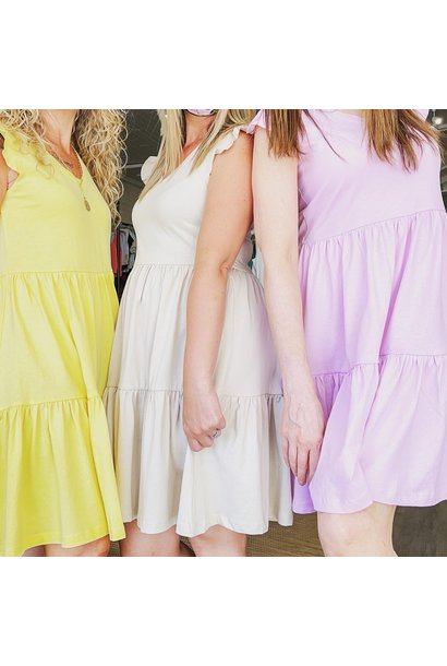 May Cap Sleeve Tiered Dress
