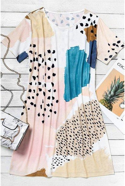 Ashley Abstract Tee Dress BLU