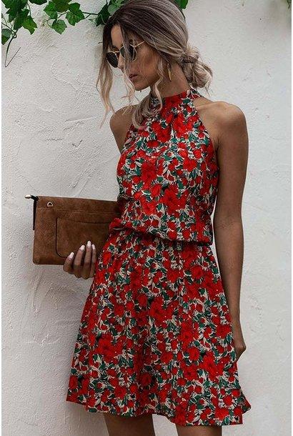 Leena Floral Halter Dress RED