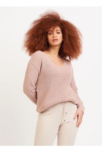 Vneck Bevelled Hem Sweater ROSE