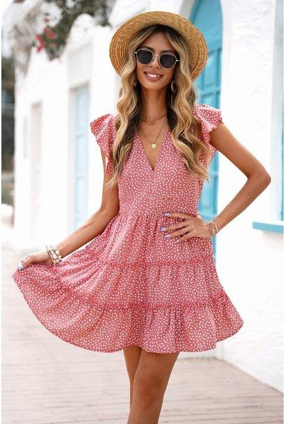 Summer Dot Tiered Dress PNK