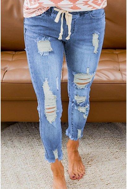Stretch Pull On Jeans BLU