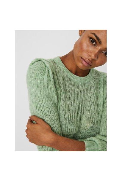 Radella Puff Sleeve Crew Sweater GRN