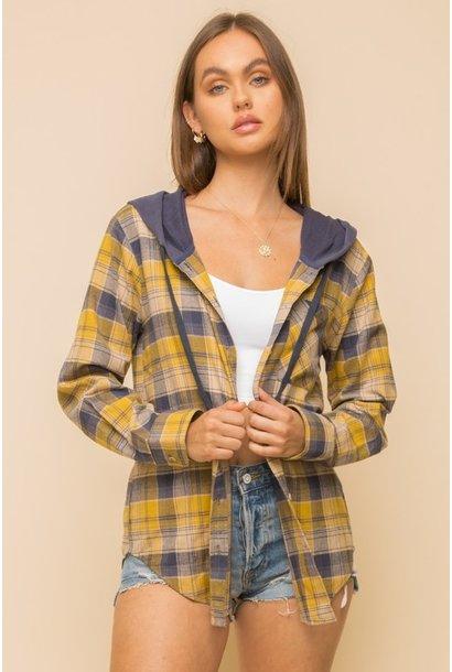 Monika Hooded Plaid Shirt MUST