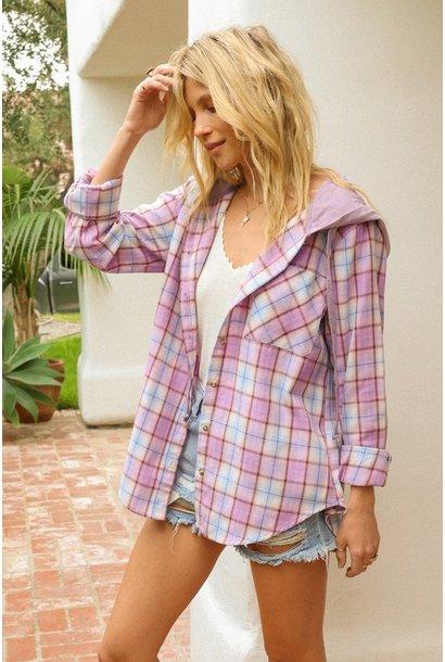 Monika Hooded Plaid Shirt LAV