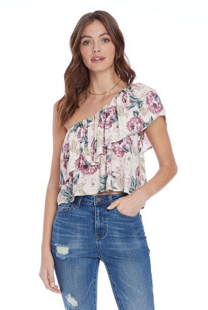 Addilyn Floral 1 Shoulder Top IVRY