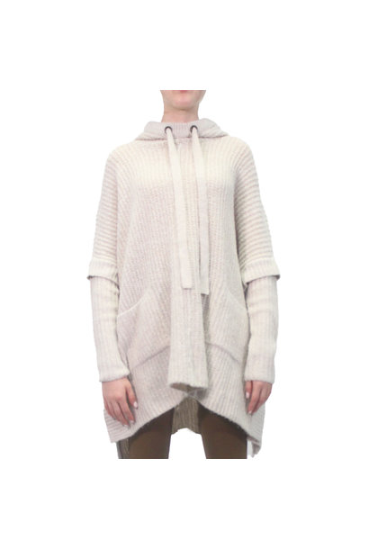 Hooded Knit Poncho Sweater GREIGE