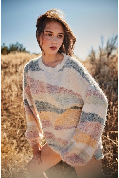 Nisha Abstract Stripe Sweater CLAY/GRN