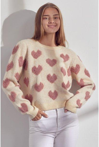 Charlie Fuzzy Heart Sweater BLSH