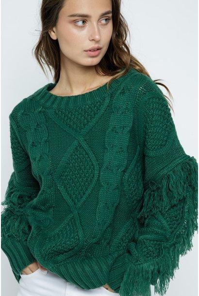 Jules Fringe Sweater GRN