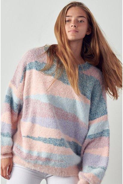 Nisha Abstract Stripe Sweater BLSH