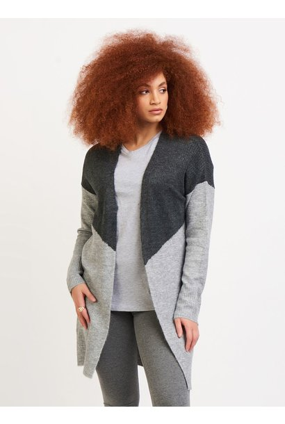Color Block Cardi GRY/Lt GRY