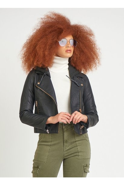 Hooded Faux Leather Moto Jacket BLK