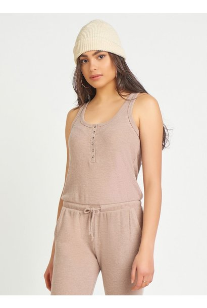 S/L Snap Front Ribbed Jumpsuit COCOA