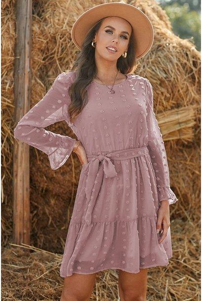 Stacey Swiss Dot L/S Dress PNK