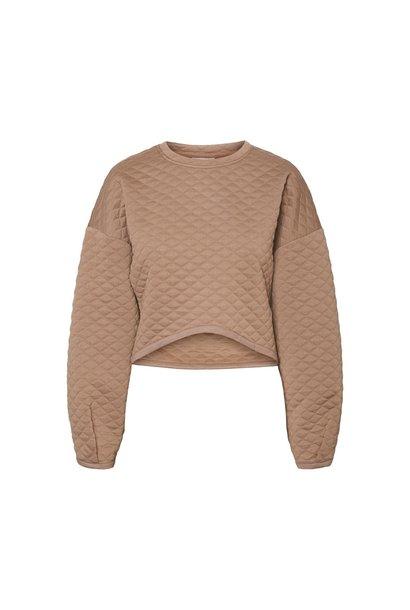 Clara L/S Quilted Sweatshirt BRN