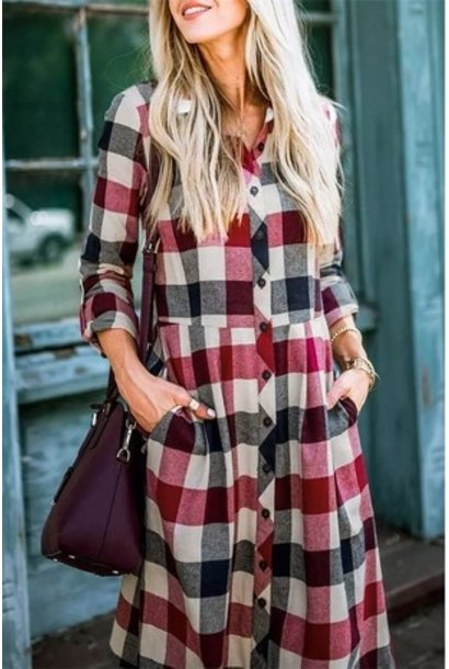 Back To Fall Plaid Flannel Dress RED