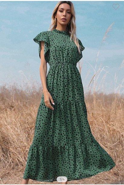 Hannah Dot Maxi Dress Green