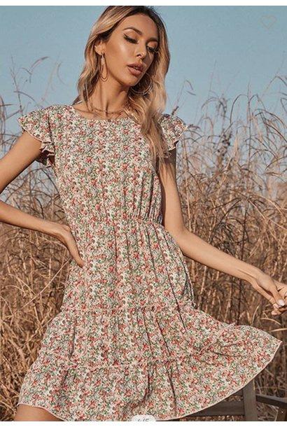 Angela Floral Flutter Sleeve Dress MUL