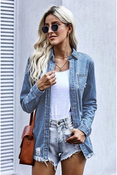 Parker Snap Front Denim Shirt -Jacket BLU