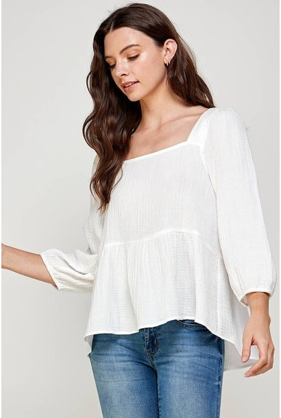 Colby Square Neck Blouse WHT