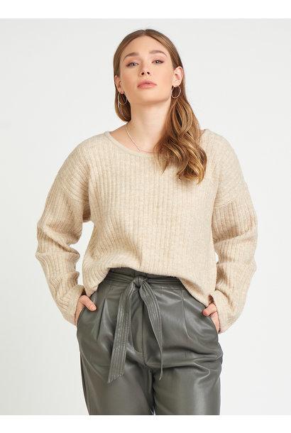 Crew Neck Slider Hem Sweater OAT