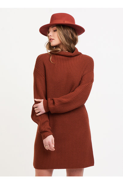 Mock Neck Sweater Dress RUST