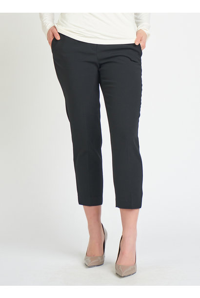 Crop Elastic Back Slim Trouser BLK