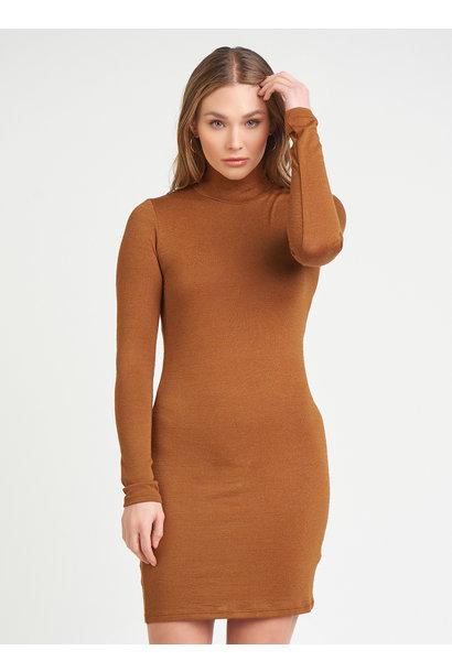 Turtleneck L/S Dress BRN