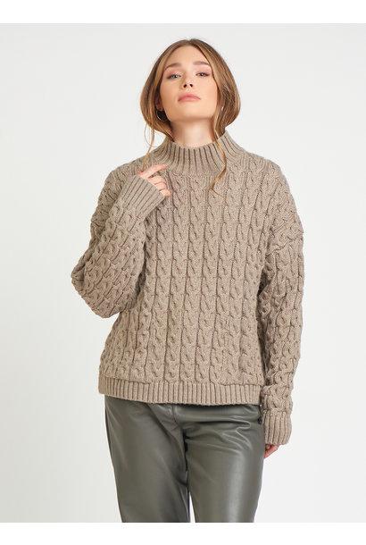Cable Knit Sweater w.Pckts TAU