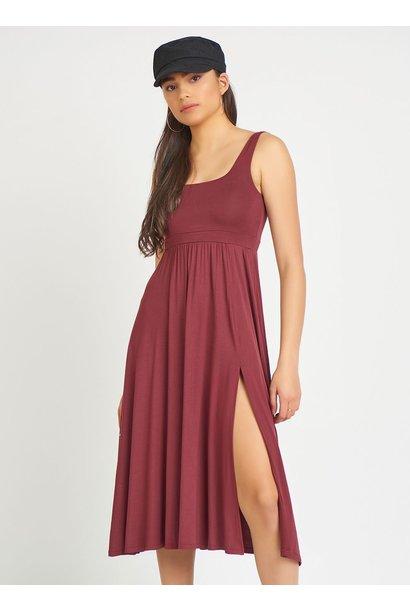 Midi Tank Dress w. Slit RED