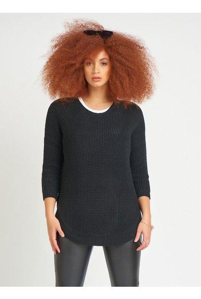Round Hem V Neck Sweater BLK